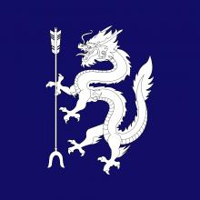 Azure, an Oriental dragon rampant sustaining a forked arrow argent